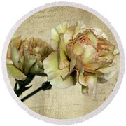 Vintage Carnations Round Beach Towel by Judy Vincent