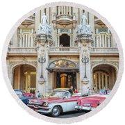 Vintage Cars And The Grand Theatre Havana Cuba Round Beach Towel
