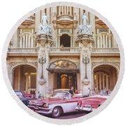 Vintage Cars And The Grand Theatre Havana Cuba Lomo Round Beach Towel
