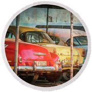 Vintage Cars At Night Round Beach Towel