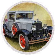Round Beach Towel featuring the photograph Vintage Chev by Keith Hawley
