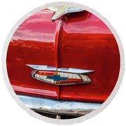Vintage Chevy Hood Ornament Havana Cuba Round Beach Towel by Charles Harden