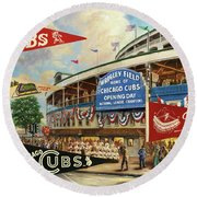 Vintage Chicago Cubs Round Beach Towel by Steven Parker