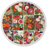 Vintage Childs Nursery Flower Seed Packets Mosaic  Round Beach Towel by Peggy Collins