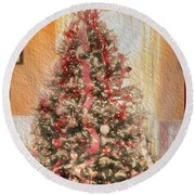 Round Beach Towel featuring the photograph Vintage Christmas Tree In Classic Crimson Red Trim by Shelley Neff
