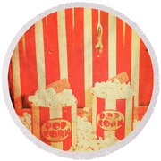 Vintage Classical Cinema Interval Concept Round Beach Towel