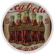 vintage Coca Cola sign Round Beach Towel