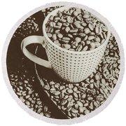 Vintage Coffee Art. Stimulant Round Beach Towel