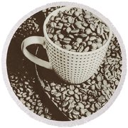 Round Beach Towel featuring the photograph Vintage Coffee Art. Stimulant by Jorgo Photography - Wall Art Gallery