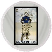 Vintage College Football Annapolis Round Beach Towel by Pd