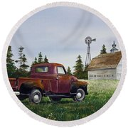 Round Beach Towel featuring the painting Vintage Country Pickup by James Williamson