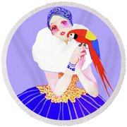 Round Beach Towel featuring the painting Vintage Dancer With Parrot by Marian Cates