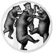 Vintage Dancing Bears Round Beach Towel