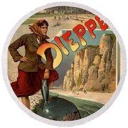 Vintage Dieppe Advertisement Round Beach Towel by Andrew Fare