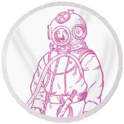 Round Beach Towel featuring the digital art Vintage Diver by Edward Fielding