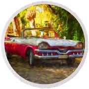 Vintage Dodge Custom Royal 1957 Round Beach Towel