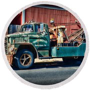 Vintage Dodge Tow Truck 2 Round Beach Towel