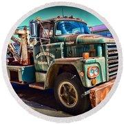 Vintage Dodge Tow Truck Round Beach Towel