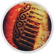 Vintage Egyptian Gold Comb Round Beach Towel