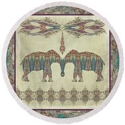 Round Beach Towel featuring the painting Vintage Elephants Kashmir Paisley Shawl Pattern Artwork by Audrey Jeanne Roberts