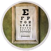 Vintage Eye Chart Round Beach Towel