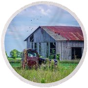 Round Beach Towel featuring the photograph Vintage Farm Find by Mary Timman
