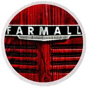 Vintage Farmall Red Tractor With Wood Grain Round Beach Towel