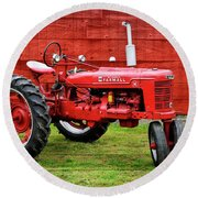 Vintage Farmall Tractor With Barnwood Round Beach Towel