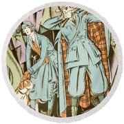 Vintage Fashion Plate Twenties Sporting Outfits Round Beach Towel