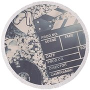 Vintage Film Production Round Beach Towel