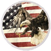 Round Beach Towel featuring the photograph Vintage Flag With Eagle by Scott Carruthers