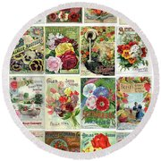 Vintage Flower Seed Packets 1 Round Beach Towel by Peggy Collins