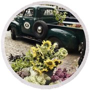 Vintage Flower Truck-nantucket Round Beach Towel