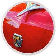 Round Beach Towel featuring the photograph Vintage Ford Hood Ornament Havana Cuba by Charles Harden