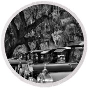 Vintage Ford Line-up At Magnolia Plantation - Charleston Sc Round Beach Towel