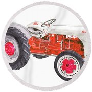 Round Beach Towel featuring the painting Vintage Ford Tractor 1941 by Jack Pumphrey