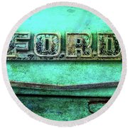 Round Beach Towel featuring the photograph Vintage Ford Truck Logo  by Terry DeLuco