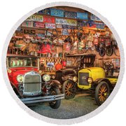 Round Beach Towel featuring the photograph Vintage Fords Collectibles by Debra and Dave Vanderlaan