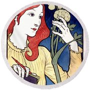 Vintage French Advertising Art Nouveau Salon Des Cent Round Beach Towel