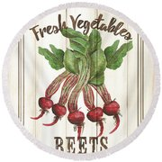 Vintage Fresh Vegetables 1 Round Beach Towel
