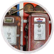 Vintage Gas Pumps Round Beach Towel