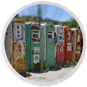 Vintage Gas Pumps Round Beach Towel