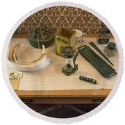 Round Beach Towel featuring the photograph Vintage Gentlemen's Preparation Table by Gary Slawsky
