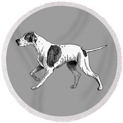 Vintage German Shorthaired Pointer Round Beach Towel by Marian Cates
