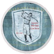 Vintage Golf Blue 1 Round Beach Towel