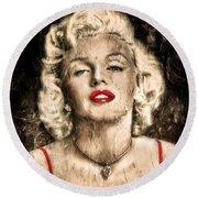 Vintage Grunge Goddess Marilyn Monroe  Round Beach Towel