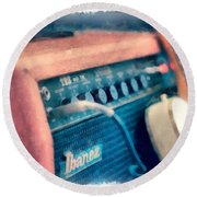 Vintage Guitar Amp Watercolor Round Beach Towel