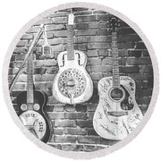 Vintage Guitar Trio In Black And White Round Beach Towel