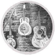 Vintage Guitar Trio In Black And White Round Beach Towel