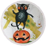 Vintage Halloween Cat Round Beach Towel